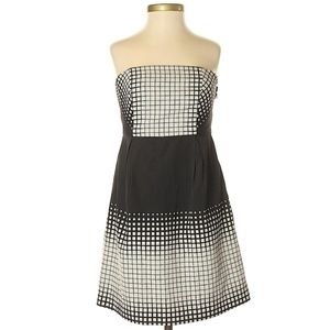 Tibi strapless black white color block dress